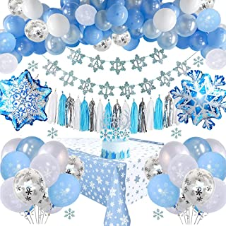 Frozen Birthday Party Decorations with Birthday Banner, Cake Toppers, Tassels, Tablecloth, Snowflake Blue & White & Confet...