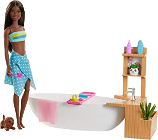 Barbie Fizzy Bath Doll and Playset, Brunette, with Tub, Fizzy Powder, Puppy and More, Gift for Kids 3 to 7 Years Old