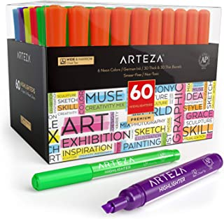 Arteza Highlighters Set of 60, Bulk Pack of Colored Markers, Wide and Narrow Chisel Tips, 6 Assorted Neon Colors, for Adul...
