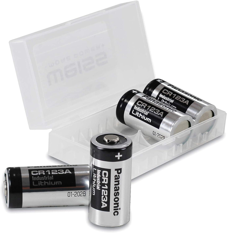 Panasonic CR123A Industrial - Pilas de Litio CR 123 A (4 Unidades, 3 V, Incluye Caja de protección de batería de Weis), Color Blanco
