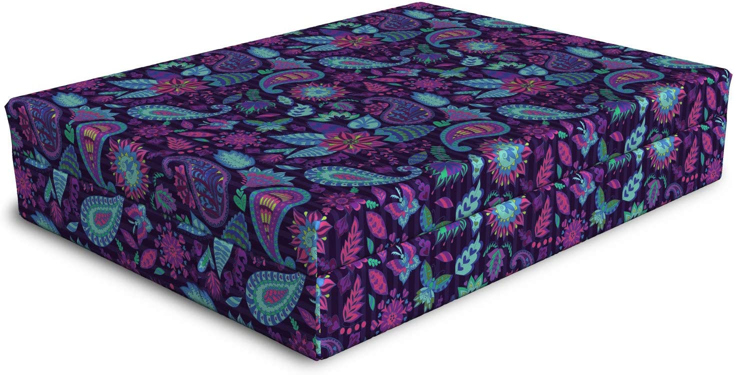 Ambesonne Leaf Print Dog Bed gift Max 57% OFF Composition Paisley and Flowers of