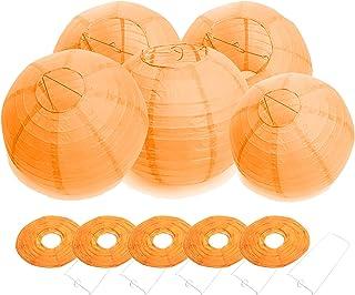 FullBerg 20 farolillos de papel de 25 cm de diámetro, redondos, forma de bola, pantalla para lámpara de mesa para el tiempo alto, iglesia, jardín, fiesta, decoración, lámpara de papel (naranja)