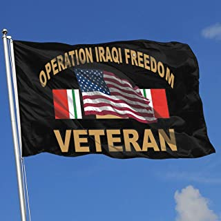 TJHJOL Iraq Veteran with American Flag Operation Iraqi Freedom 3x5 Feet Garden Flag