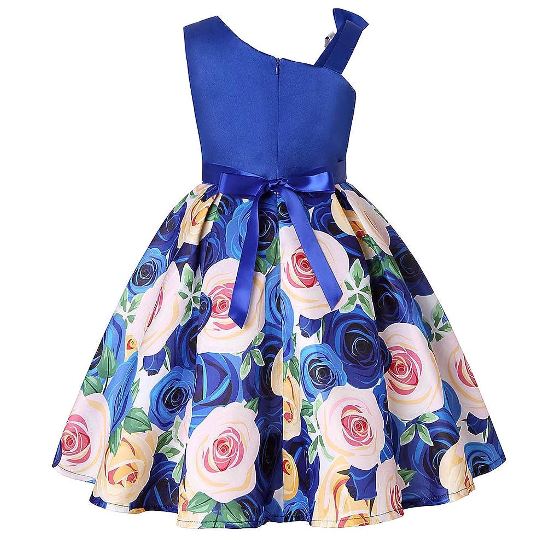 ガールズドレス 女の子ドレス ワンピース 蝶結びリボン お宮参り 入園式 結婚式 七五三 卒業式 花柄プリント 斜め肩