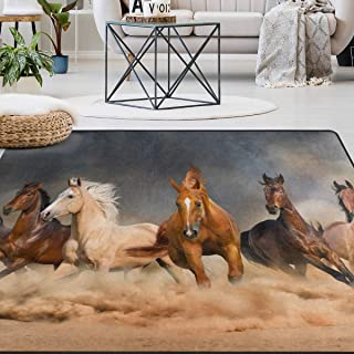Naanle Animal Area Rug 4'x6', Running Horse in Desert Sand Storm Polyester Area Rug Mat for Living Dining Dorm Room Bedroom Home Decorative