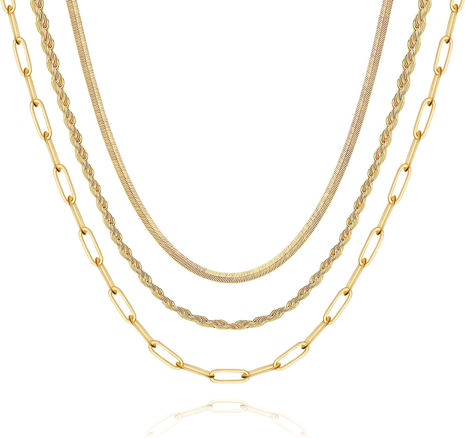 Hidepoo Gold Layered Necklaces for Women, 14K Gold Plated Dainty Coin Pendant Choker Necklace Herringbone Snake Necklace Paperclip Chain Layered Necklaces for Women Jewelry Gifts