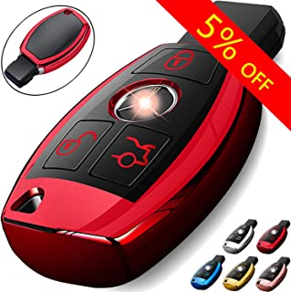 COMPONALL for Mercedes Benz Key Fob Cover, Key Fob Case for Mercedes Benz C E M S CLS CLK GLK GLC G Class Premium Soft TPU Full Cover Protection Smart Remote Keyless Key Fob Shell Red Red MB03