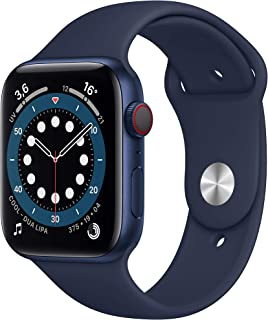 Apple Watch Series 6 (GPS + Cellular, 44 mm) Caja de aluminio en azul - Correa deportiva azul marino intenso