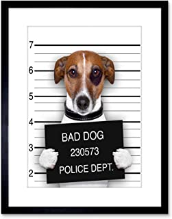 Wee Blue Coo Jack Russell Dog Mugshot Police Picture Photo Art Print Framed Poster Wall Decor 9x7 inch