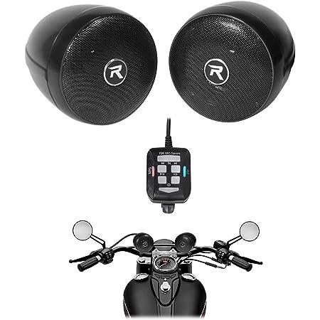 """Rockville rocknride (2) RockNRide 3"""" Powered Bluetooth Metal Motorcycle Handlebar Speakers"""