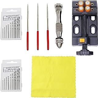 NIUPIKA Pin Vise Small Hand Drill Kit with Twist Drills Bits Pearl Drilling Holes Tool Kit with Tools Accessories Mini Ben...