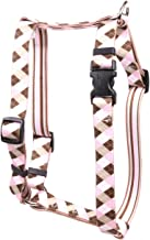 """Yellow Dog Design Pink Brown Argyle Roman H Dog Harness, Small/Medium-3/4 Wide fits Chest of 14 to 20"""""""