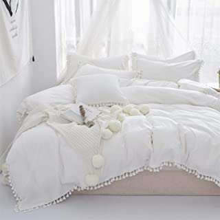 Softta Duvet Cover Full 3 Pcs Bohemian Duvet Covers Tassel and Ruffle White Girls Bedding 100% Washed Cotton with Zipper Close & Corner Ties