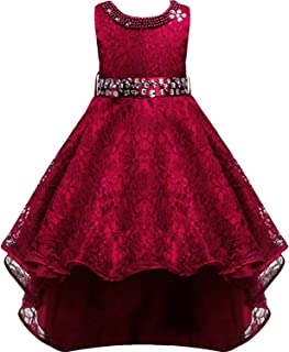 Girls Vintage Embroidered Rhinestone Wedding Pageant Dress Hi-Low Lace Bridesmaid Flower Girl Dance Ball Party Maxi Gown