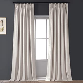 HPD Half Price Drapes VPCH-120601-84-FP Signature Pleated Blackout Velvet Curtain (1 Panel), 25 X 84, Alabaster Beige