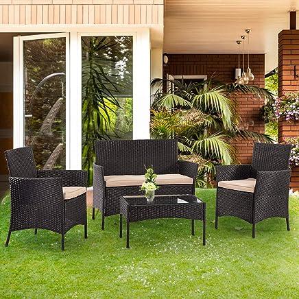 FDW Conversation Coffee Table Bistro Set Rattan Chair Outdoor Wicker Sofas, Black