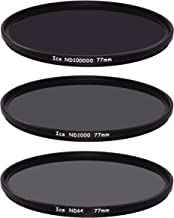 ICE 77mm Extreme ND 3 Filter Set ND100000 ND1000 & ND64 Neutral Density 6, 10, 16.5 Stop Optical Glass