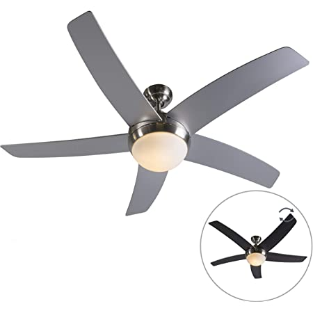 QAZQA cool - ventilateur de plafond avec eclairage et télécommande Design - 2 lumière - Ø 1300 mm - Acier - Design,Moderne - Éclairage intérieur - Salon | Chambre | Cuisine | Salle à manger