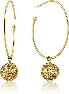 925 Sterling Silver Dangling Coin Drop Statement Half Hoop Earrings for Women