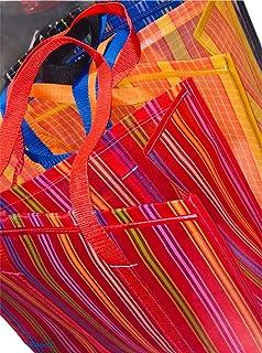 Bolsas para mandado, juego de 4 bolsas, con asa larga, parche y fuelle, ideal para colgarlas en el hombro, bolsas para com...