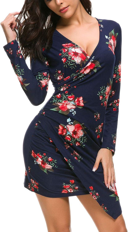 DGMYG Women's Wrap V Neck Velvet Dress Long Sleeve A line Bodycon Slim Cocktail Party Dresses