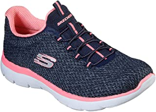 Skechers Womens Summits   Striding Trainers Sneakers in Navy/Pink.
