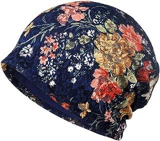 CHARMGIRL Women's Cotton Beanie Cap Lace Floral Chemo Hat Slouchy Turban Head Wrap Cap Sapphire