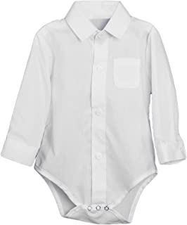 Unisex Baby Poly Cotton Button Up White Dress Shirt Bodysuit Romper with Collar