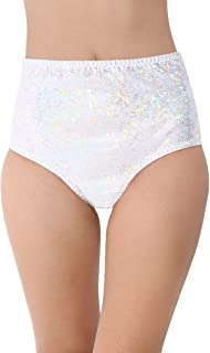 iHeartRaves Electro High Waisted Booty Shorts Brief Pin-Up Style Bikini Bottoms