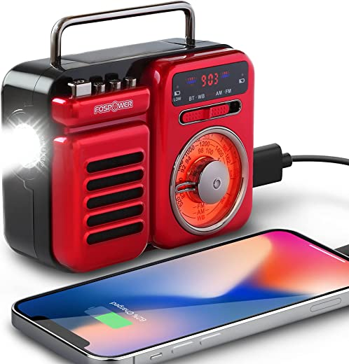 FosPower 2000mAh Emergency Weather Radio, Retro Style Portable Radio with 5.0 Bluetooth Speaker, Hand Crank, Solar Charging, Battery Operated, AM/FM/WB, Flashlight & SOS Alarm (Red)