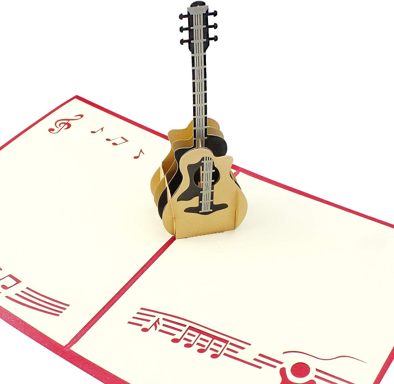 Tarjeta de cumpleaños 3D desplegable con guitarra Dylan-EUE, tarjeta de felicitación 3D, tarjeta de felicitación pop-up, tarjeta de música rock'nro