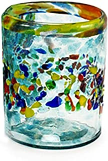 Bambeco Aqua Del Sol Hand-Crafted Blown Recycled Glass 12 ounce Tumbler