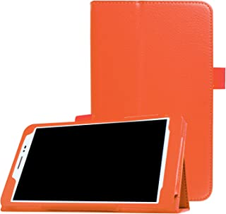 【PCATEC】 Huawei Mediapad T2 8.0 Pro タブレット専用スタンド機能付きケース 二つ折 カバー 薄型 軽量型 スタンド機能 高品質PUレザーケース (オレンジ)