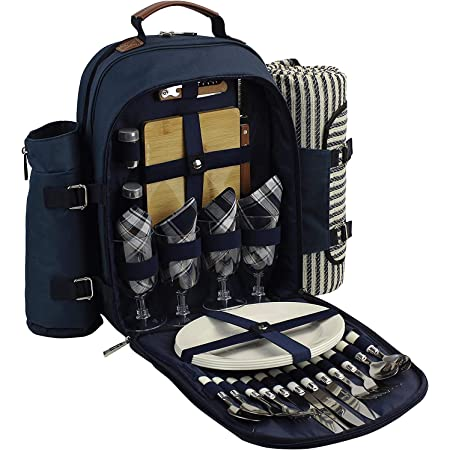 Amazon Com Family Picnic Backpack Picnic Backpack For 4 Portable Picnic Basket For 4 Stunning Picknick Basket Set For 4 Truly A Unique Picknick Basket Set For Friends Garden Outdoor