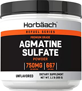 Agmatine Sulfate Powder | 500 Grams | Unflavored | Pre Workout Supplement | by Horbaach