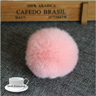 Fur Ball 6cm Pompom Keychain Car Pompon Fur Ball Keychain Fur DIY Bag Charms with Fluffy Bunny Ponpon,South Korea Pink
