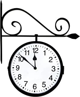 Poolmaster 52608 Dual Sided Hanging Indoor Clock or Outdoor Clock, Black