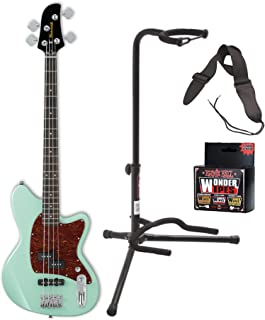 Ibanez TMB100 Talman Electric Bass Guitar (Mint Green) with Guitar Stand, Guitar Strap and Cleaning Wipes Bundle