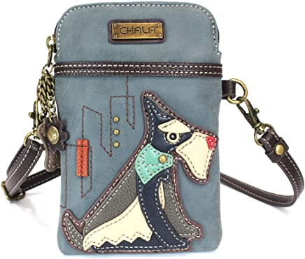 Chala Crossbody Cell Phone Purse - Women PU Leather Multicolor Handbag with Adjustable Strap - Schnauzer - Indigo