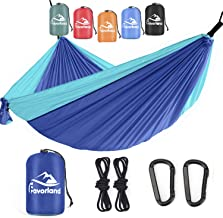 Favorland Camping Hammock Double & Single with Tree Straps for Hiking, Backpacking, Travel, Beach, Yard - 2 Persons Outdoo...