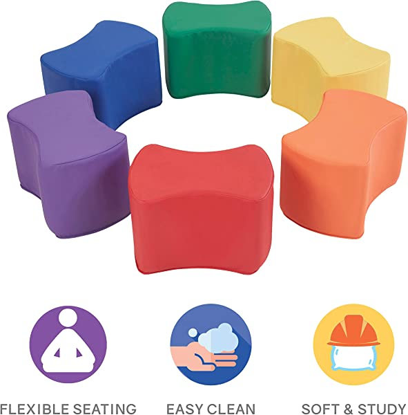 FDP SoftScape Butterfly Stool Modular Seating Set For Toddlers And Kids Colorful Flexible Seating For Classrooms And Daycares 6 Piece Set Assorted
