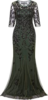 Vijiv Vintage 1920s Long Wedding Prom Dresses 2/3 Sleeve Sequin Party Evening Gown