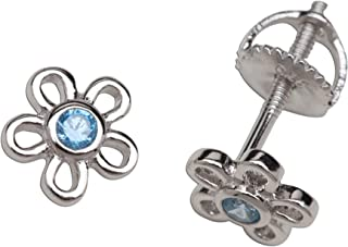 Girls' Sterling Silver CZ Simulated Birthstone Daisy Earrings with Screw Back (6mm)