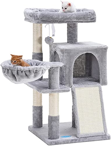discount Hey-brother Cat Tree with Sisal Scratching popular Posts, Cat sale Tower with Scratching Board,Multi-Level Cat Condo with Basket sale