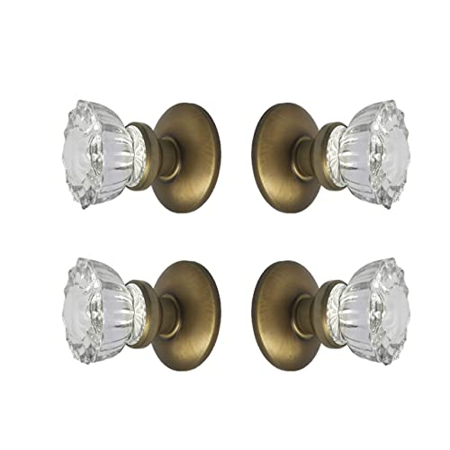 Roussou0027s Reproductions Two Sets Crystal Glass French Door Knob Sets.  Includes Self Centering Spindle