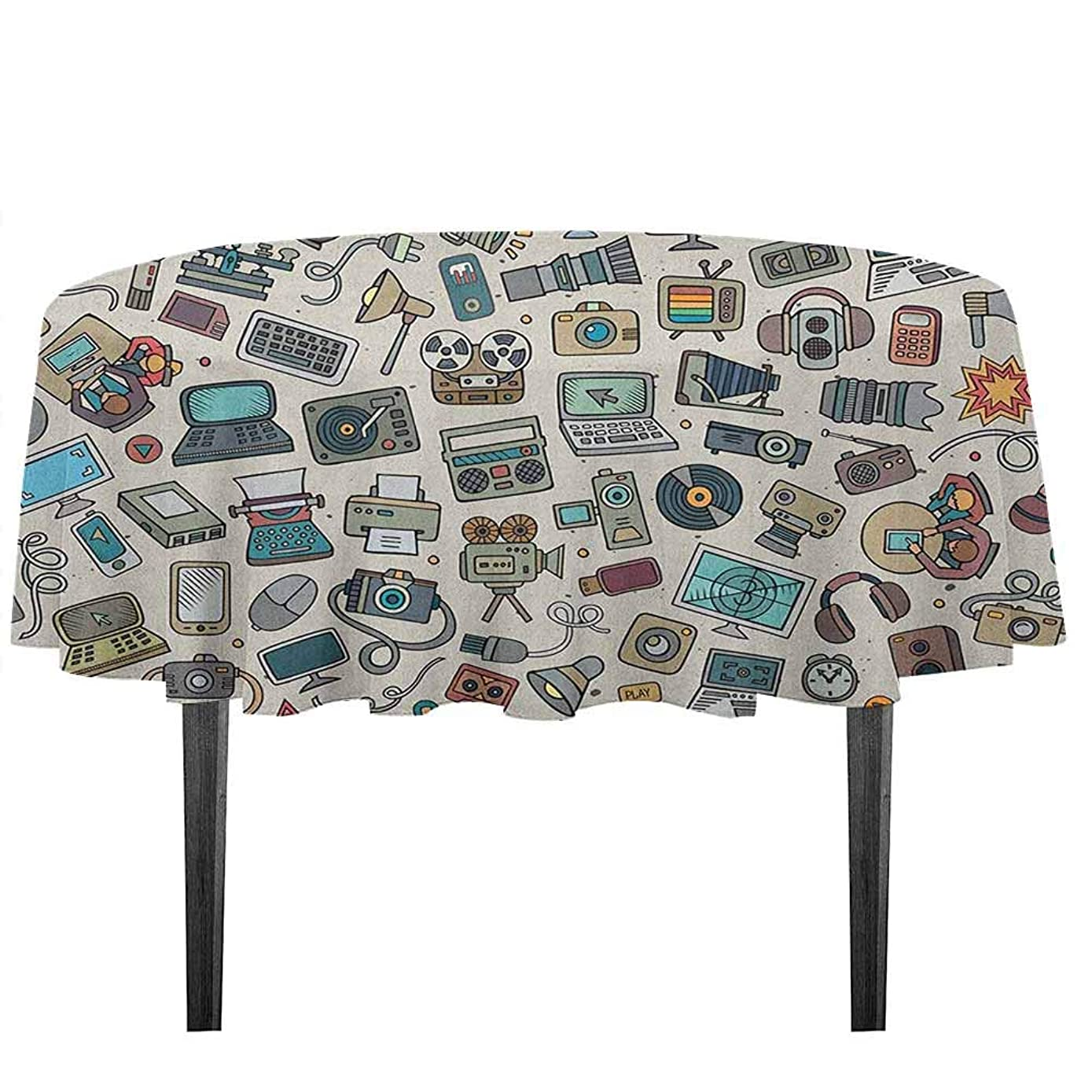 kangkaishi Doodle Printed Tablecloth Complation of Various Office Gadgets Recorder Tv Laptop Monitor Tablet Switch Mouse Outdoor and Indoor use D35.4 Inch Multicolor