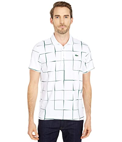 Lacoste Short Sleeve Sport All Over Square Print Polo (White/Green) Men
