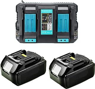 Cargador doble 4A DC18RD con 2 baterías de 18V 5,0Ah para radio Makita DMR1108, DMR109, DMR110, DMR111, DMR112, DMR113, DM...