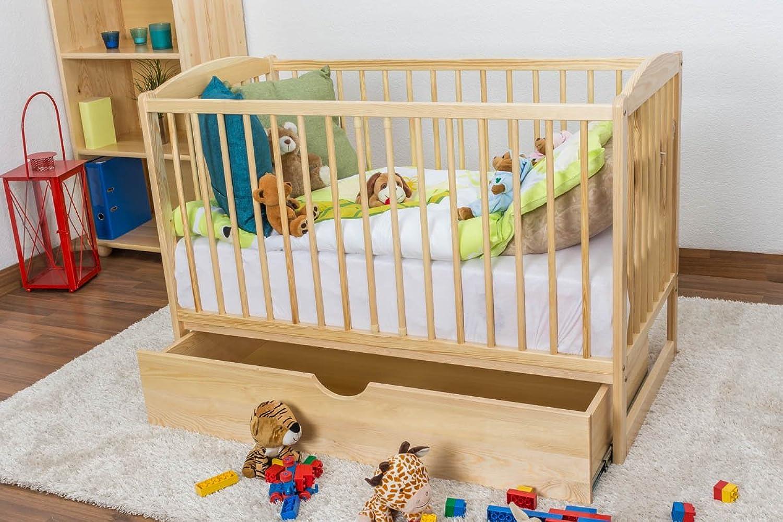 Gitterbett   Kinderbett Kiefer massiv Vollholz natur 102, inkl. Lattenrost - Abmessung 60 x 120 cm, inkl. Schublade