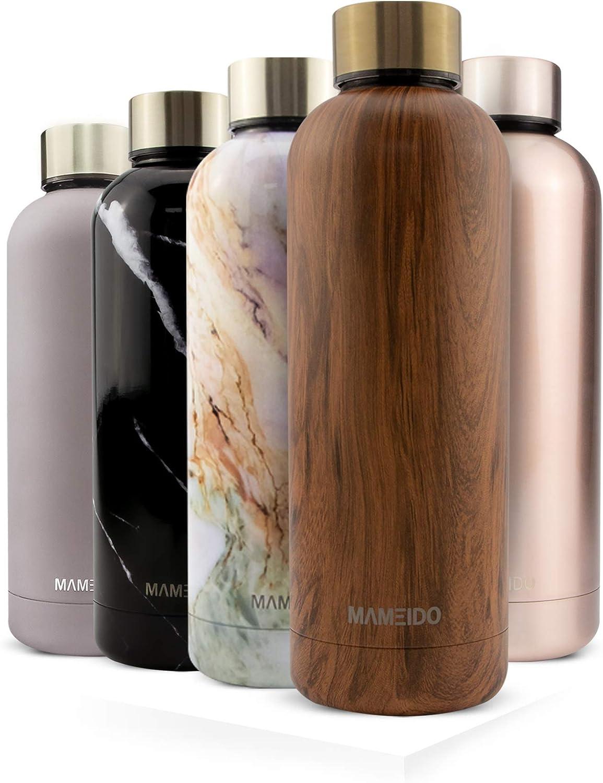 MAMEIDO Botella Agua Acero Inoxidable 500ml 750ml, Termo Reutilizable, cantimplora termica sin BPA, Aislamiento de Vacío de Doble Pared para Bebidas Frías 24h y Calientes 12h